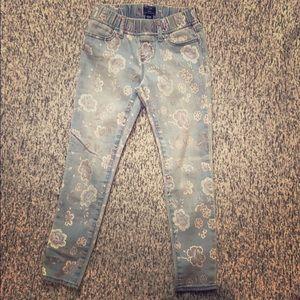 Gap denim leggings light blue with flower pattern